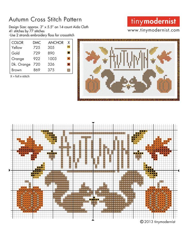 FREE Cross Stitch Patterns Autumn Squirrels