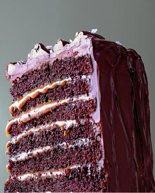 Salted-Caramel Six-Layer Chocolate Cake Recipe: Cake Recipe, Chocolates, Six Layer Chocolate, Salted Caramel Six Layer, Chocolatecake, Chocolate Cakes, Dessert, Salted Caramels