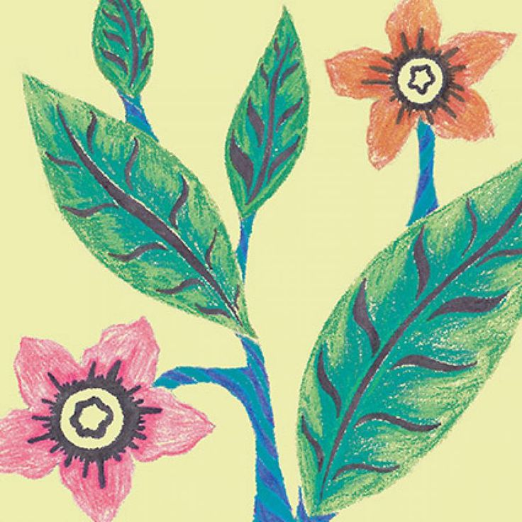 vintage tropical flowers and leaves - detail