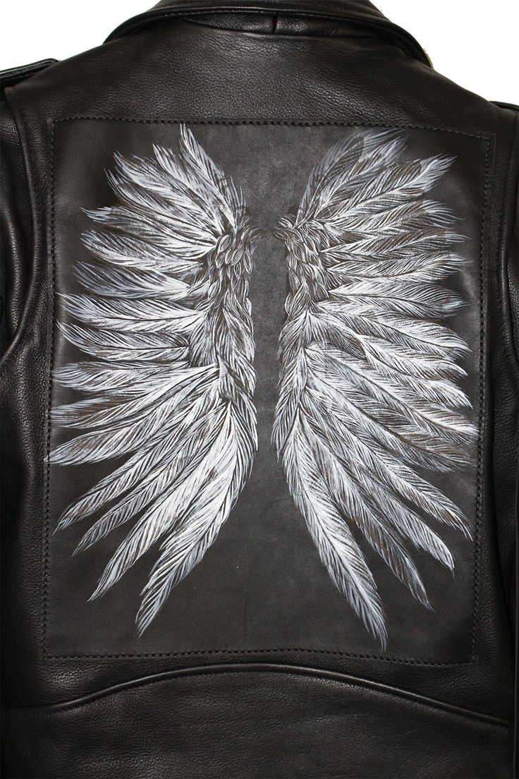 Custom leather jacket by Understated Leather featuring western buckle, extreme laser cut leather fringe & hand painted back patch.