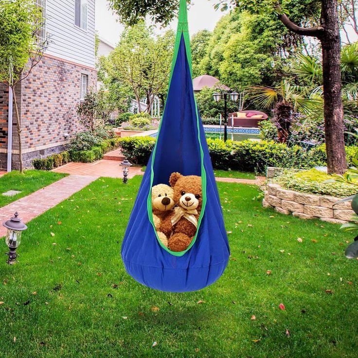 Kids Pod Swing Chair Indoor Outdoor Foldable Hanging ...