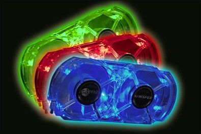 Whisper legacy premium cooling double fan for Xbox 360, Blue, Green and Red