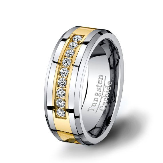 Tungsten Ring Gold Inlay with Brilliant CZ Diamond in ...