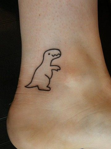 T-Rex Dinosaur Outline Tattoo on Ankle - Cowgirl, don't ever get a tatoo!! I'll not be a happy Mama!