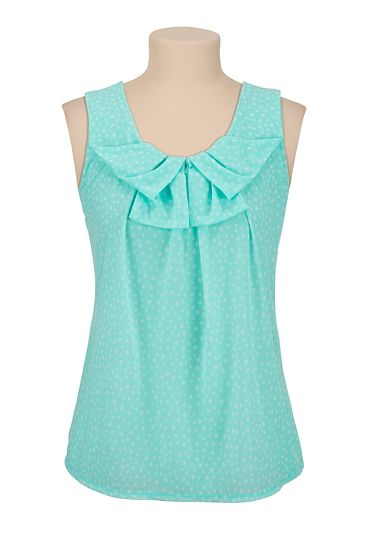 Dot Print Chiffon Top available at #Maurices