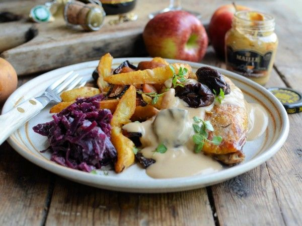 Lavender and Lovage | French Sunday Lunch: Guinea Fowl with Apples, Prunes and Armagnac Mustard Sauce (Pintade aux Prunes) | http://www.lavenderandlovage.com