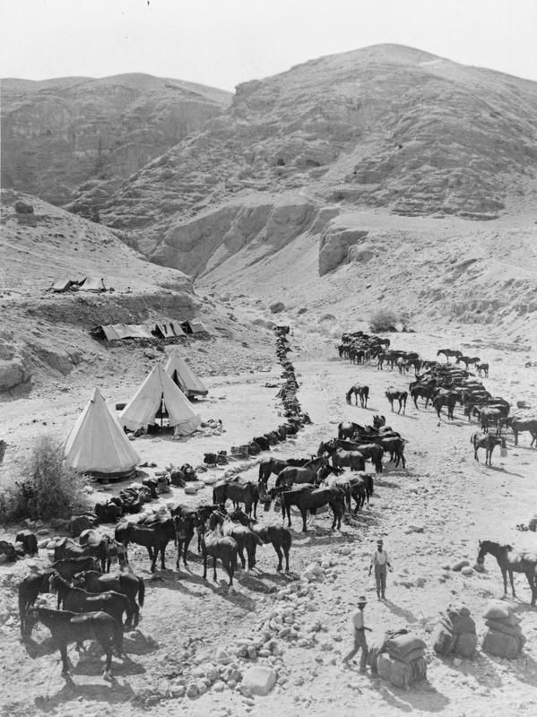A high view of the camp and horse lines of A Squadron, 9th Australian Light Horse Regiment, in a valley near Jericho in Palestine.