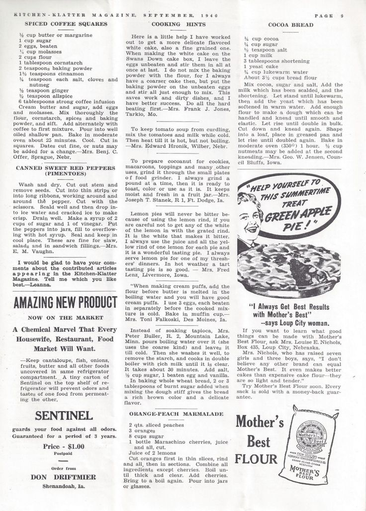 Kitchen Klatter Magazine, September 1940 - Spiced Coffee Squares, Canned Sweet Red Peppers, Cooking Hints, Orange Peach Marmalade, Cocoa Bread