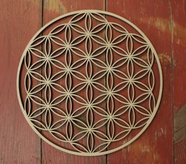 "Laser Cut Bass wood Flower of Life Crystal Grid - 8"" diameter ( CRYSTALS not included) The widest point is approx 8"" The flower of life holds a secret symbol created by drawing 13 circles out of the Flower of Life. By doing this, one can discover the most important and sacred pattern in the universe.The ""Flower of Life"" can be found in all major religions of the world. It contains the patterns of creation as they emerged from the ""Great Void"". Everything is made from the Creator's thought…"
