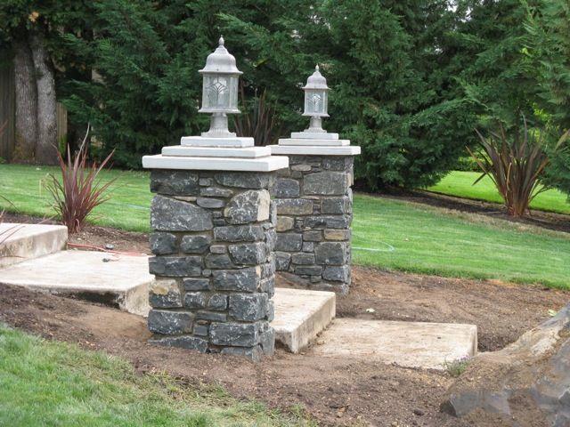 Rock Yard Lights On Columns : Best images about front yard columns on pinterest