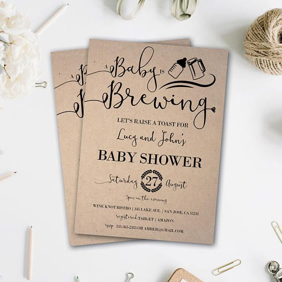Baby is Brewing | Baby Q Baby Shower Invitations | Baby-Q Shower | Baby Q | Rustic Baby Shower | Couples Baby Shower | Baby BBQ | Beer & BBQ  This listing is for a PRINTABLE one-sided Baby Shower invitation for you to print at home or print through a print shop.  This card comes as 4x6 or 5x7. *Let me know if you want a different color font, I can change it for you at no additional charge.  Everything is sent through email only for you to print yourself. Nothing will be shipped to you, so...