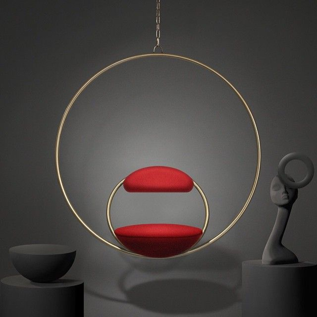 #adloves Lee Broom's Hanging Hoop Chair, suspended with two circular brass-plated hoops and upholstered in Kvadrat wool. #admiddleeast #leebroom #furniture #design #architecture #interiordesign