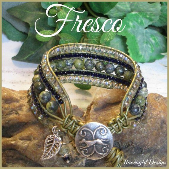 FRESCO Beaded 5 Row Leather Wrap by Ravengirl Design