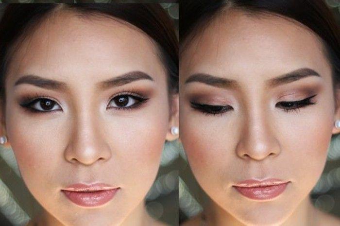 maquillage smokey eye pour yeux bridés, levres en rose brillant