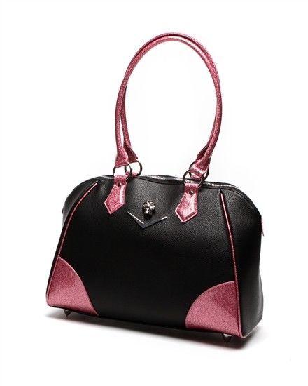Lux de Ville Purse Elvira Large Chevron Tote Black Matte Electric Pink Sparkle #PINK #RetroBowlingBagToteTote