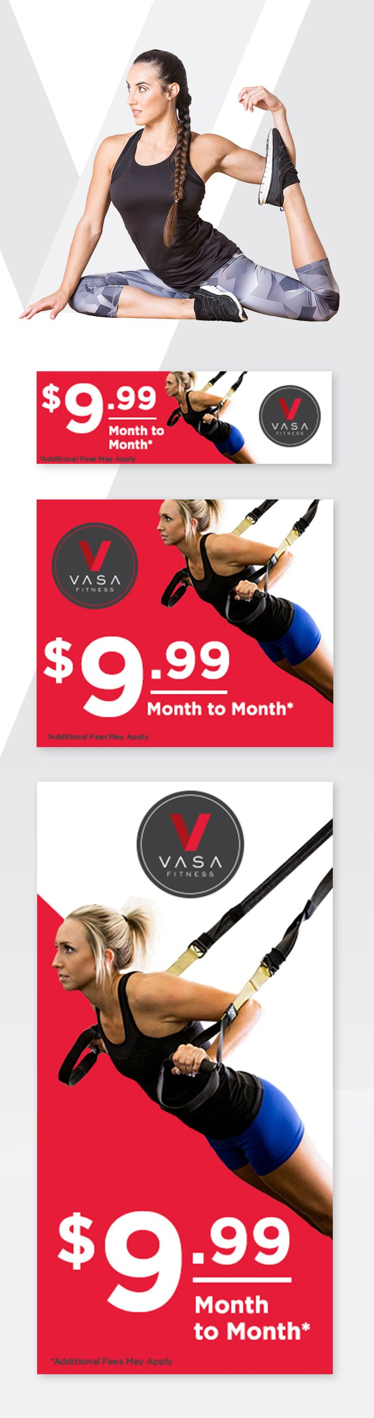 Digital ad design for VASA Fitness by Epic Marketing. #digital #digitaladvertising  #VASAfit #design #fitness #workout #epicmarketing