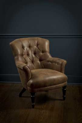 Distressed Faux Leather Club Chair