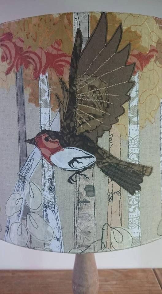 Printed robin lampshade, robin's in flight, drum lampshade, rustic lampshade, table lamp, bird lampshade, wildlife, british garden birds, - pinned by pin4etsy.com