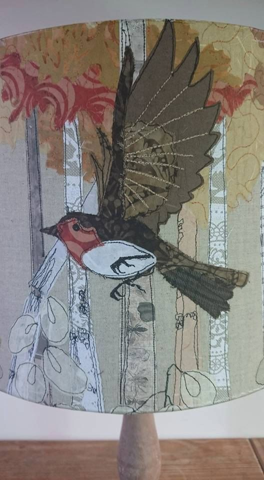Printed robin lampshade, robin's in flight, drum lampshade, rustic lampshade, table lamp, bird lampshade, wildlife, british garden birds, by LilCritterDesigns on Etsy