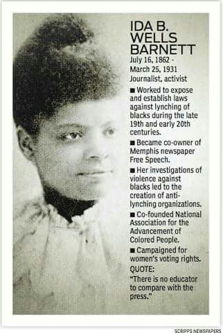 Ida B Wells was a Republican & wrote many books! I learned about her from Hillary's America film. Why didn't my high school or college bring her up. They brought up Rosa Parks. But this woman was far more of an inspiration...