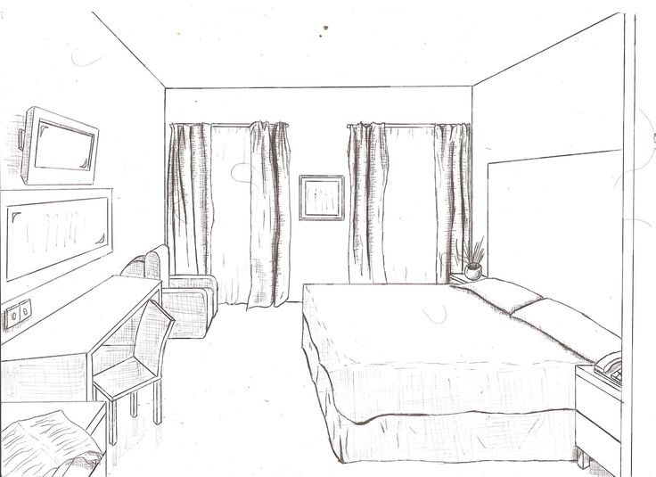 1 point of view room in drawing drawings from floor - One point perspective drawing living room ...