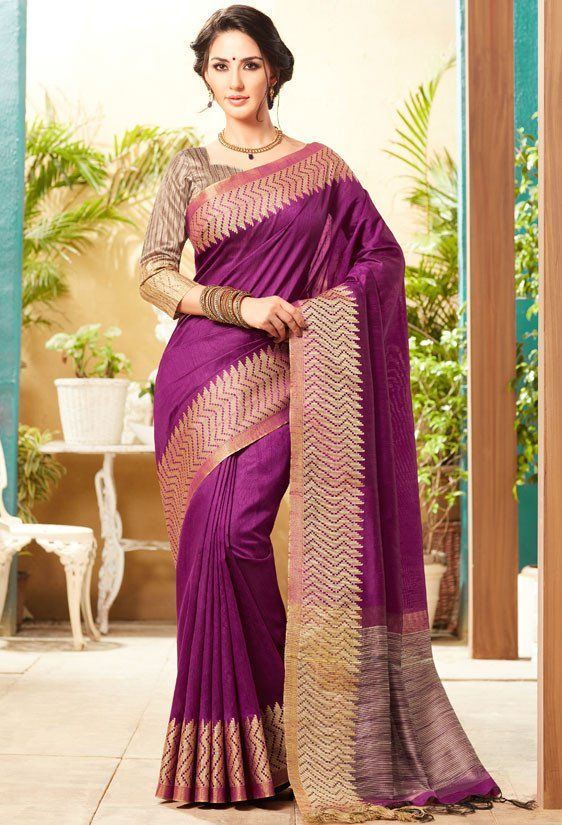 Magenta Jute Silk Saree with Double Blouse