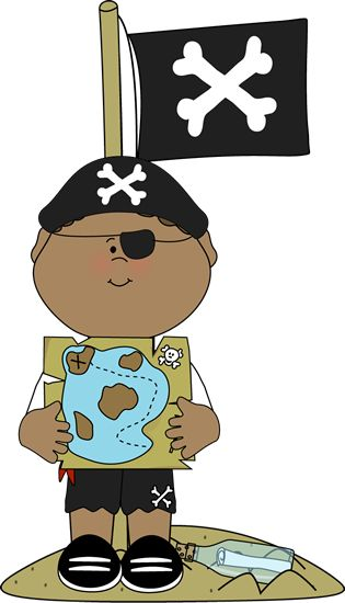 Pirate boy on an island with treasure map.