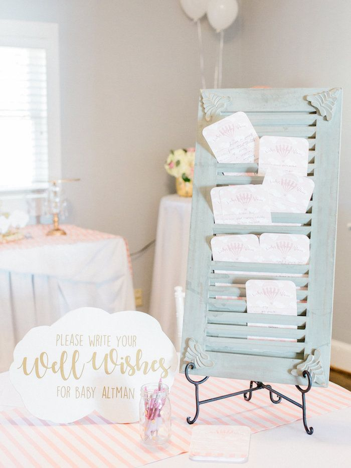 Vintage Shutter Filled With Wishes For Baby From A Shabby Chic Hot Air  Balloon Baby Shower