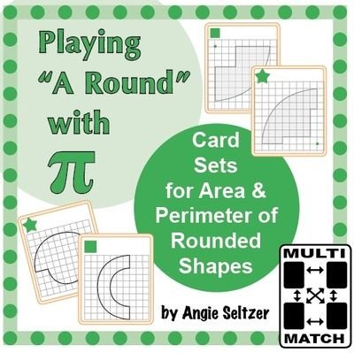 "Playing ""A Round"" with Pi: Cards for Circumference, Perimeter, Area from K-8 MathPaths on TeachersNotebook.com -  (35 pages)  - These Multi-Match game cards provide great practice with area and perimeter of circles and figures made from parts of circles (CCSS 7.G.4). They will be great for Pi Day on March 14th."
