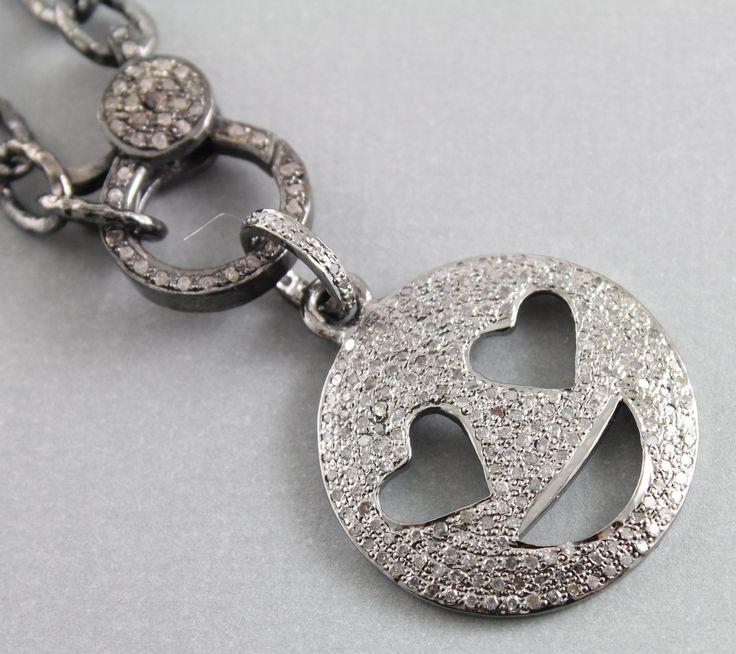 Pave Diamond Pendant, Pave Emoji Pendant, Pave Smiley Charm, Pave Diamond Emoji Charm, Pave Connector, Oxidized Silver. DCH/PDT/1066) by Beadspoint on Etsy
