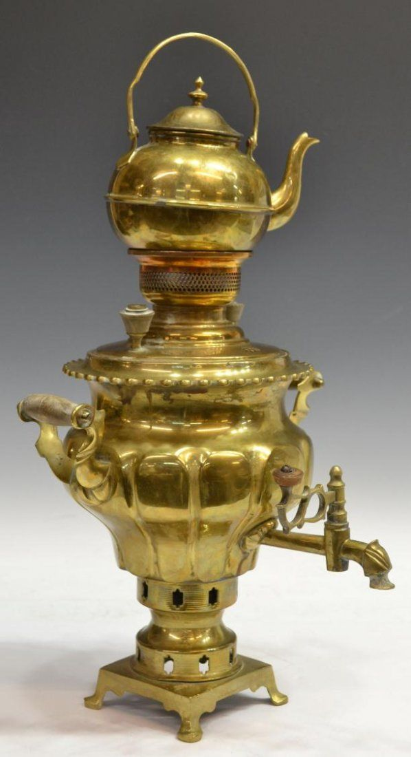 Persian Brass Samovar & Tray - http://www.liveauctioneers.com/item/14489486_large-persian-brass-samovar-and-tray