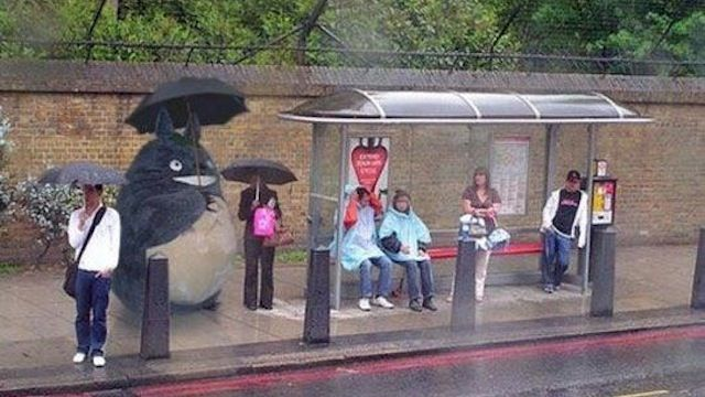 Totoro gets caught in the rain waiting for the bus: from Tokyo Times, my new blog addiction