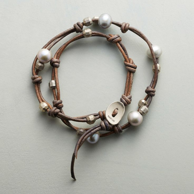 "WILLOW BRANCH WRAP BRACELET -- Knotted leather, accented with the soft glow of gray freshwater pearls and the spark of gunmetal beads, wraps around your wrist twice in this handcrafted bracelet by Chan Luu. Sterling silver button closure. Fits 6"" to 7-1/2"" wrists."