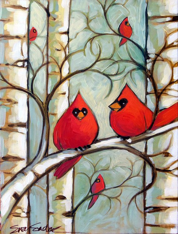 Winter Cardinals III original acrylic painting by SuzySadakFineArt