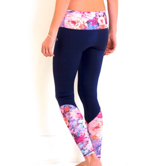 TEVITA OM CONTRAST PRINT YOGA TIGHTS- navyyoga | activewear | yogawear | pilates | gym | floral | pink | pattern | print |health | fitness | boho | wellness | positive energy | spiritual | well being |yoga photography | pool | rice fields |  made in Bali | ethical | social responsibility | Ubud | Tevita lifestyle