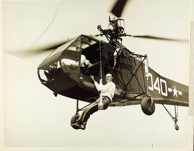 May 6, 1941: Igor Sikorsky sets a world endurance record for helicopter flight of 1 h 32 min in a Sikorsky VS-300 in Conneticut