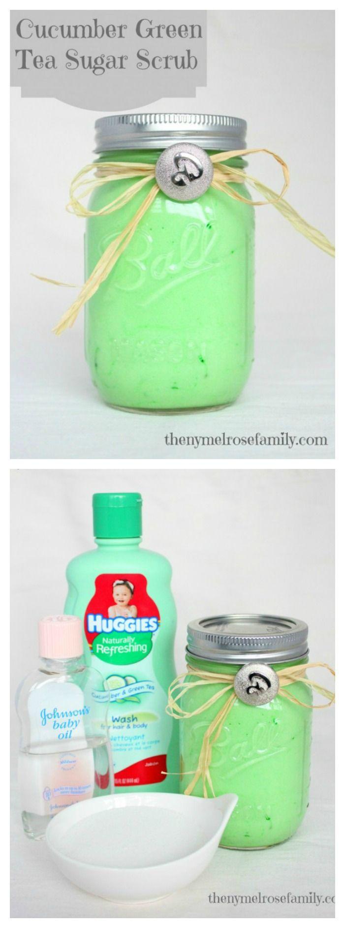 Cucumber Green Tea Sugar Scrub with only 3 ingredients!