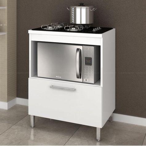 Compre Balcão para Forno/Micro-ondas e Cooktop 4 ou 5 bocas BCM146 Branco - Móvel Bento em Promoção com ✓ Até 12x ✓ Fretinho
