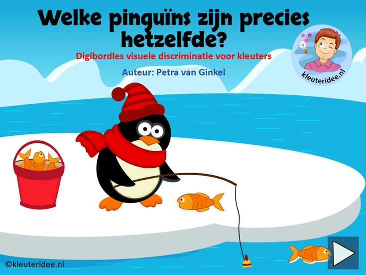 Digibordles pinguïns, kleuteridee.nl, zoek dezelfde pinguins, Kindergarten IWB lesson, which is the same penguin.