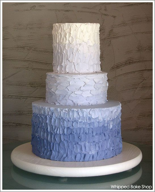 Blue Ombre textured cakeFrostings Techniques, Colors, Blue Ombre, Blue Wedding Cakes, Tiered Cake, Ombre Cake, Blue Cake, Blue Weddings, Weddingcake