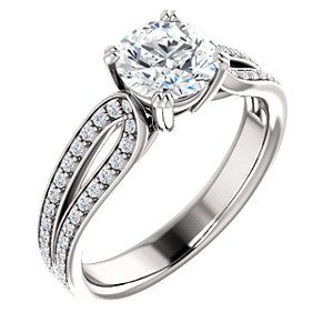 ANNABELLE style 122274 Accented Twin Prong Engagement Ring #everandeverbridal