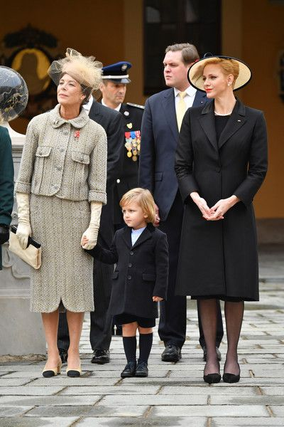 Princess Caroline of Hanover,Sacha Casiraghi and Princess Charlene of Monaco attend the Monaco National Day Celebrations in the Monaco Palace Courtyard on November 19, 2016 in Monaco, Monaco.