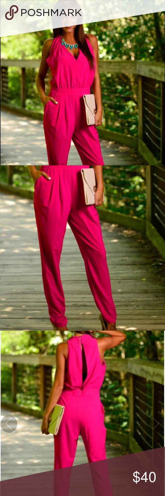 Mint Julep Boutique Fuchsia Pink Jumpsuit Size Medium Fuchsia jumpsuit from the Mint Julep. Has a flirty slit in the back as well as pockets in the front. Never worn! Mustard Seed Pants Jumpsuits & Rompers