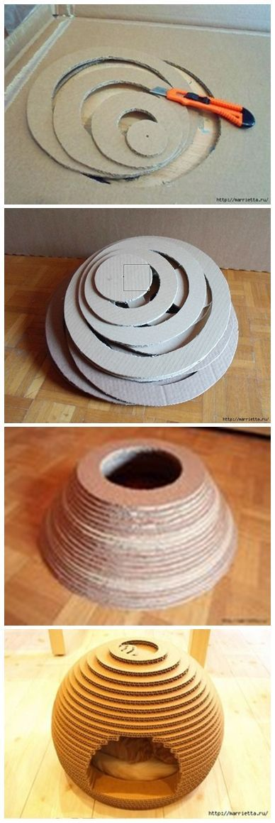 "Use cardboard to make this ""beehive"" DIY cat house! Line with a blanket and let the snuggling begin..."