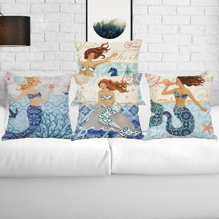 2017 New Hot Nordic Cartoon Marine Series Mermaid Digital Printing Pillow Home Kids Room Mediterranean Style Cushion #Affiliate