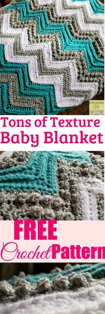 """Tons of Texture Crochet Chevron Baby Blanket"""