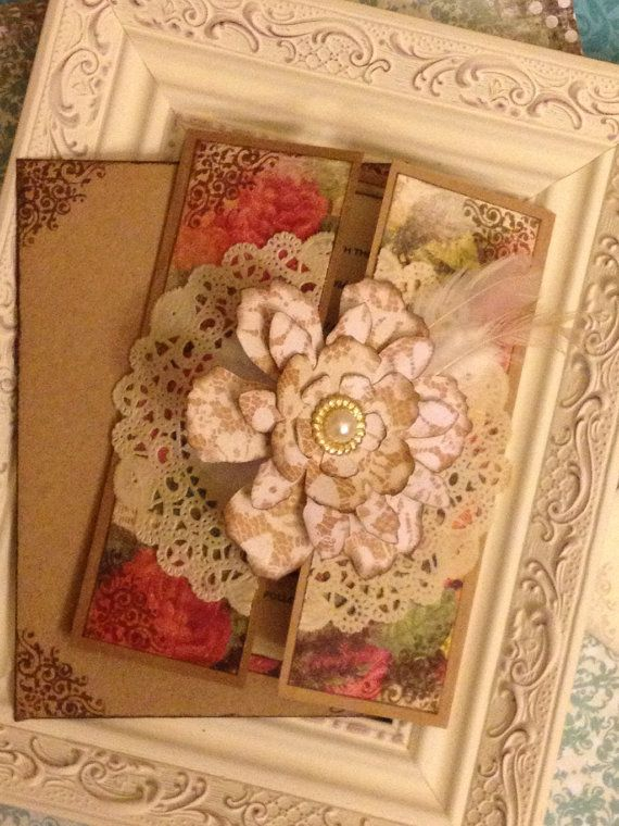 Shabby Chic roses and lace wedding invitation by JennyPie5 on Etsy, $4.50