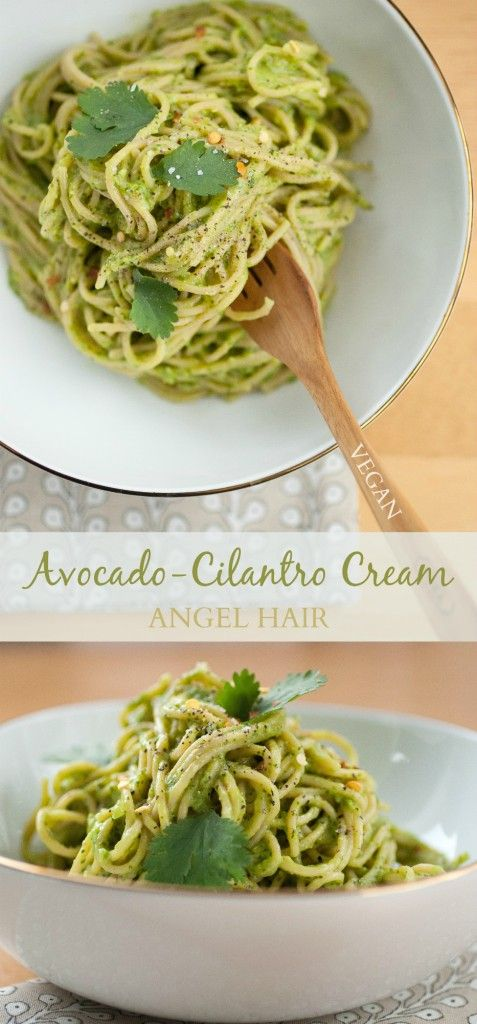Avocado-Cilantro Cream Angel Hair | Produce On Parade - Don't miss this perfect #spring dish!