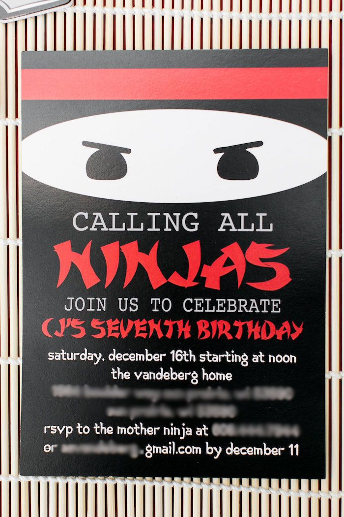 Ninja Party Invitation from a Red, White & Black Ninja Birthday ...