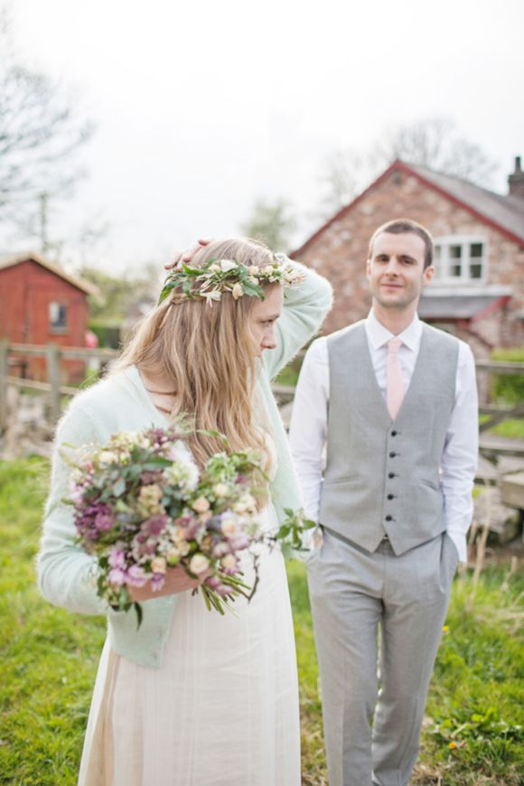 The prettiest mint green angora cardy worn by a bride you ever did see!  @ClairePettibone Queen Anne Lace wedding dress, Photographs by @EmmaCase
